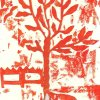 red tree collograph